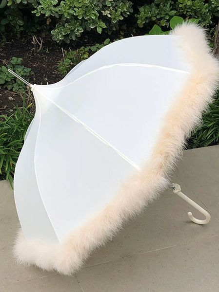 Feather - Ivory Heavy Weight Down Feather Trim - Hand Stitched - Cream Canopy - Full Size Parasol