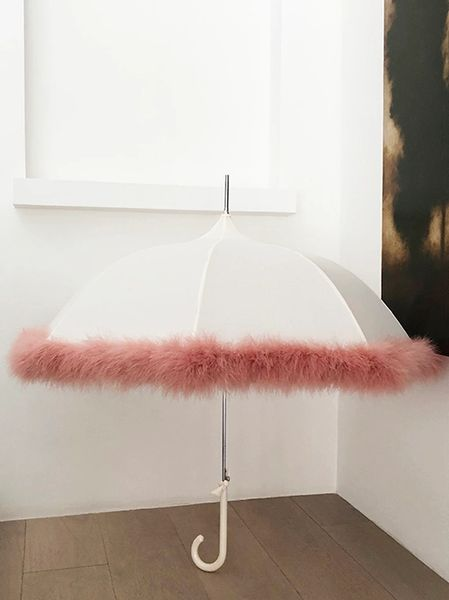 Feather - Dusty Rose Heavy Weight Down Feather Trim - Hand Stitched - Cream Canopy - Full Size Parasol