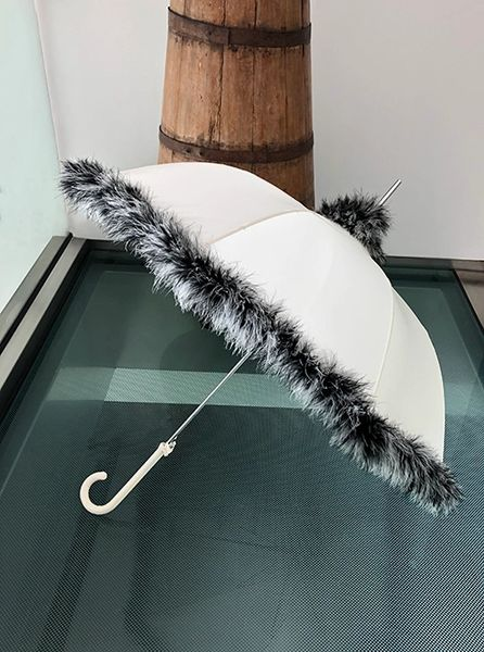 SOLD OUT - Feather - Grey/White Medium Weight Down Feather Trim - Hand Stitched - Cream Canopy - Full Size Parasol
