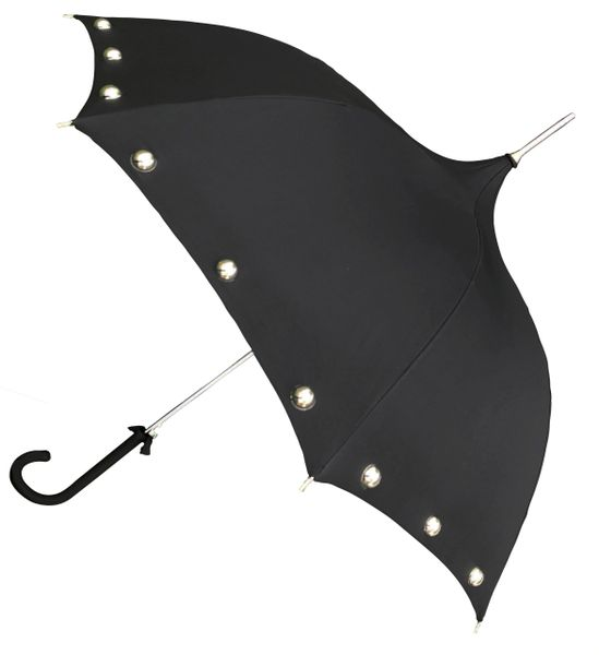 Amelia Black - Ogee Shaped Canopy - Half Round Silver Colored Pearls - Waterproof - Made To Order
