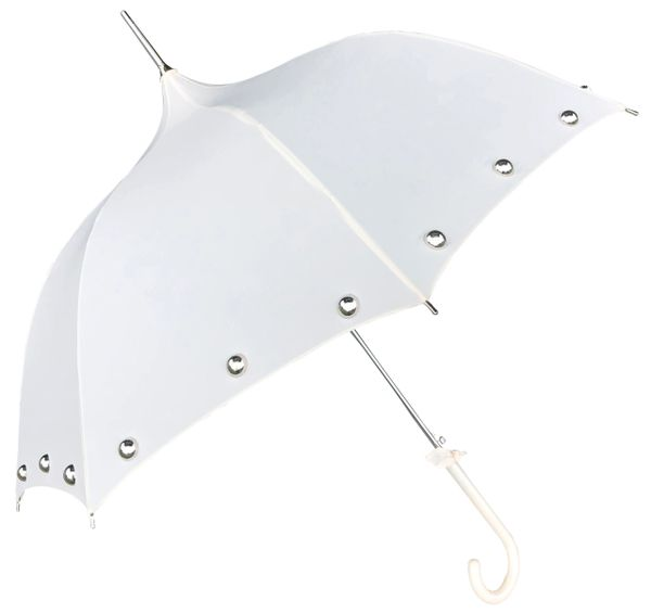 Amelia Cream - Ogee Shaped Canopy - Half Round Silver Colored Pearls - Waterproof - Made To Order