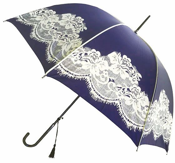 "English Style Umbrella - Navy Canopy - Cream Printed Lace - Stick Style - Wide 38"" Diameter"