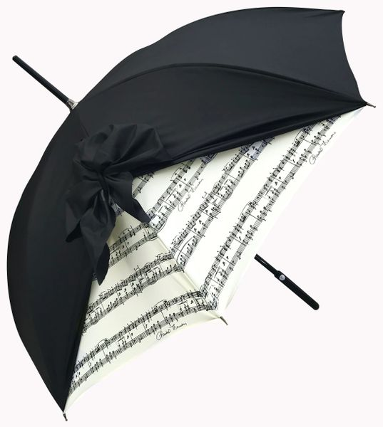 Chantal Thomass Umbrella - Black Bow - Music Notes - SPF50 -Waterproof - Luxury - Handmade In France