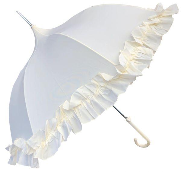 Cream Ruffle Lady Pagoda - Dome Shaped Umbrella/Parasol