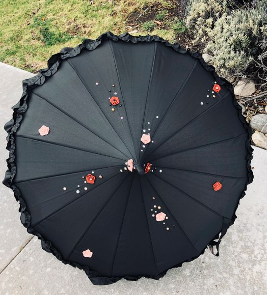 Maeva Black - Frilly Pagoda Shaped Umbrella - Hand Crafted Floral And Beads - Waterproof - Made To Order