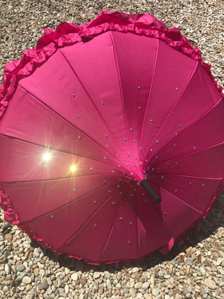 Maeva - Fuschia Frilly Umbrella - Embellished With Rainbow Rhinestones - Waterproof - Made To Order