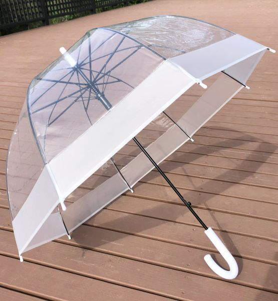 "Clear Dome - PVC Bubble Umbrella 32"" - Translucent White Trim"