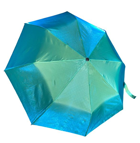 COMPACT IRIDESCENT UMBRELLA -WATERPROOF BRIGHT GREEN/BLUE