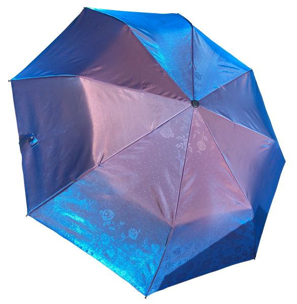 COMPACT IRIDESCENT UMBRELLA - WATERPROOF BLUE