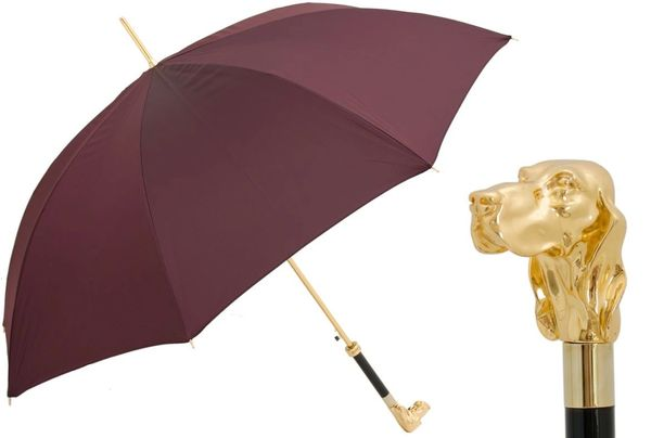 Luxury Italian Umbrella - Handmade In Italy - Burgundy - Golden Dog