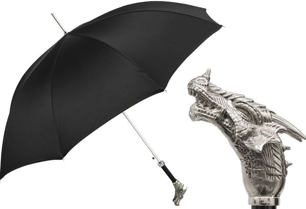 Luxury Italian Umbrella - Handmade In Italy - Black - Silver Dragon