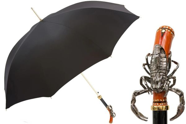 Luxury Italian Umbrella - Handmade In Italy - Black - Enameled Scorpion Handle With Swarovski Crystals
