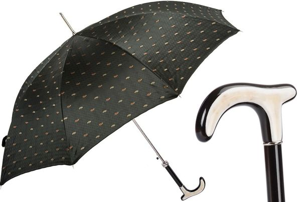 Luxury Italian Umbrella - Handmade In Italy - Paisley With Buffalo Horn Handle