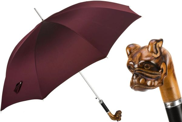 Luxury Italian Umbrella - Handmade In Italy - Hand Carved Bulldog Umbrella