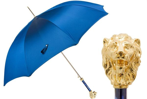 Luxury Italian Umbrella - Handmade In Italy - Blue - Gold Lion