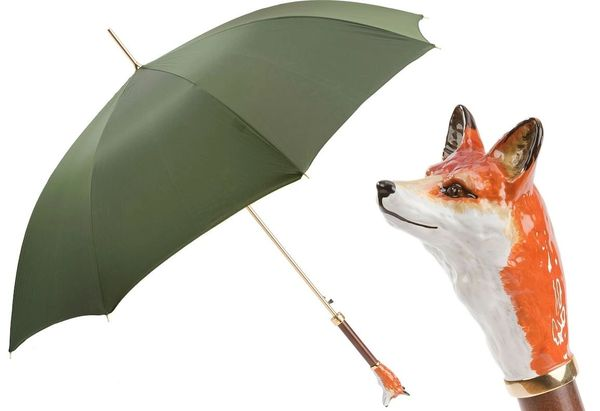 Luxury Italian Umbrella - Handmade In Italy - Enameled Brass Fox Handle