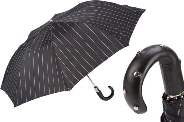 Luxury Folding Umbrella - Handmade In Italy - Studs Leather Handle