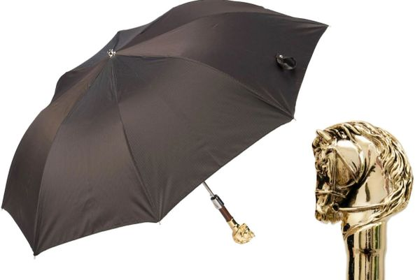 Luxury Folding Umbrella - Handmade In Italy - Golden Horse Handle