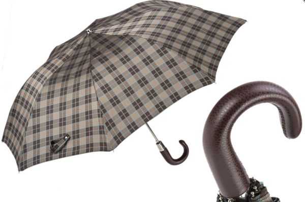 Luxury Folding Umbrella - Handmade In Italy - Leather Handle Classic