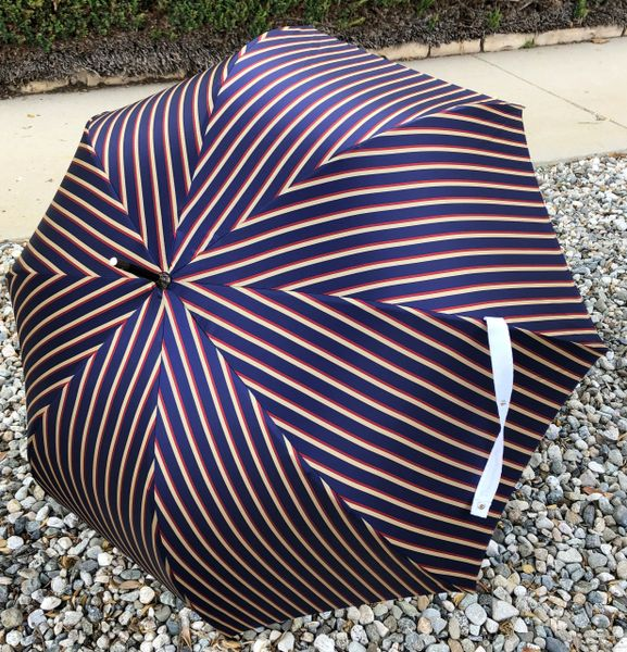 Man Stripes Umbrella- Hazelnut Wood Handle - Luxury - Handmade In France
