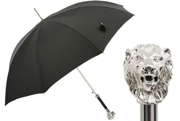 Luxury Italian Umbrella - Handmade In Italy - Silver lion