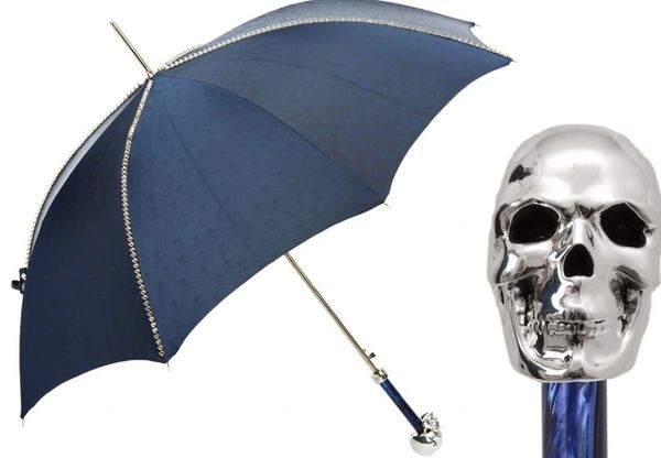 Luxury Italian Umbrella - Handmade In Italy - Navy - Studs And Silver Skull Handle