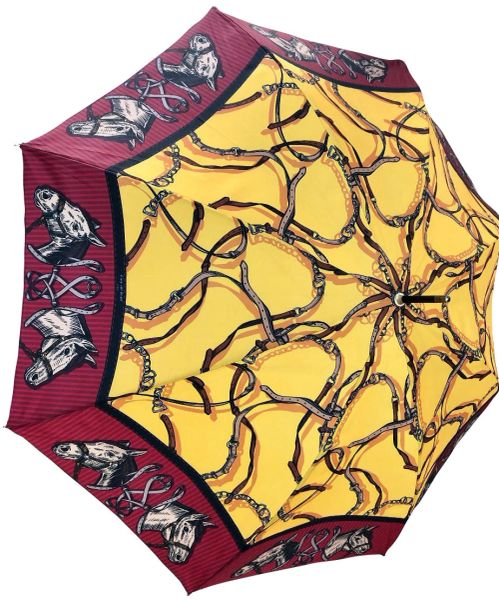 Horses by Guy de Jean - Handmade In France - Luxury Umbrella - Yellow Burgundy