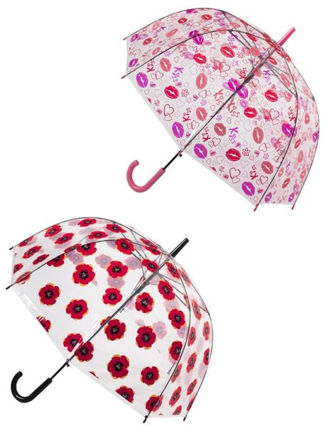 Set of 2 Clear Umbrellas - 15% Off - Clear bubble - Lips And Poppy Flower Print