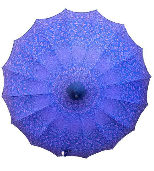 Anti-UV Umbrella - Blackout lining - Pagoda style - Purple design - Waterproof