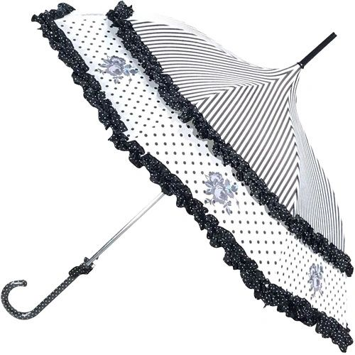 French Rose Design Umbrella - Grey And Black And Lavender - Double Frill - Waterproof