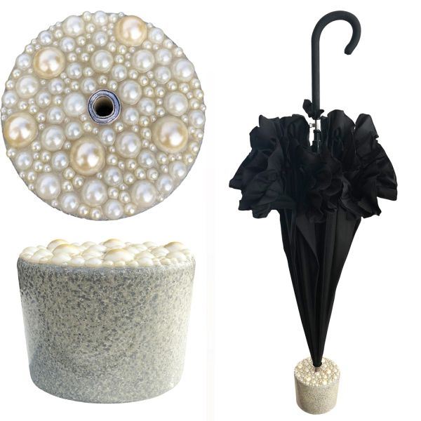 New Set - Black Ruffle Umbrella + Handmade Granite And Pearls Stand - Cement And Epoxy