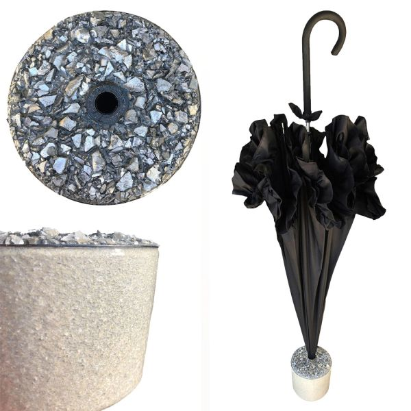 New Set - Black Ruffle Umbrella + Handmade Silver Nuggets Stand - Medium Size Stand