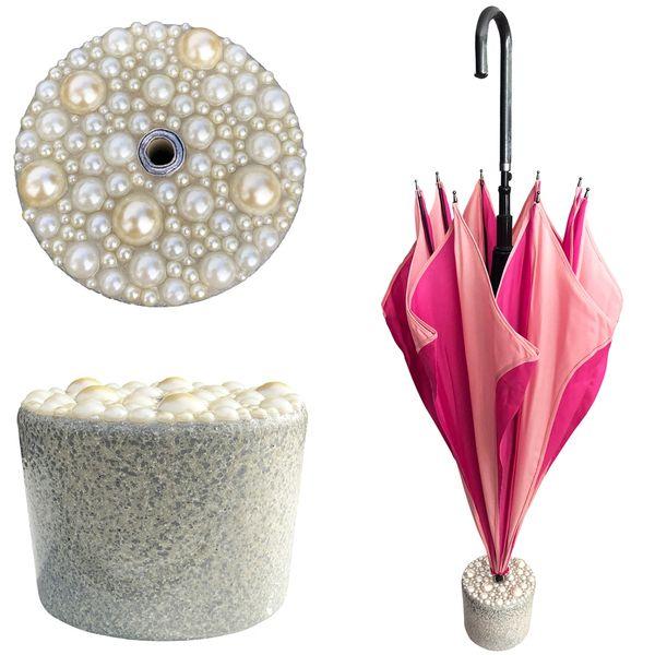 New Set - Pink Swirl Umbrella + Handmade Granite And Pearls Stand - Cement And Epoxy
