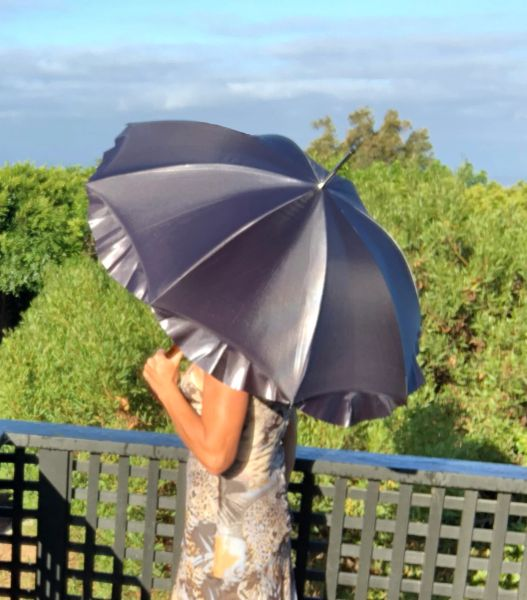 Guy de Jean Swan Umbrella - Handmade In France - Double Canopy - UV Protection - Dark Silver
