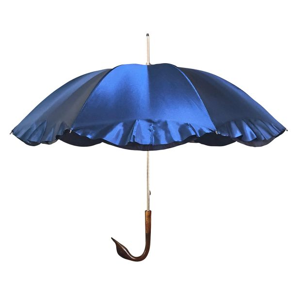 Guy de Jean Swan Umbrella - Handmade In France - Double Canopy - UV Protection - Deep Royal Blue