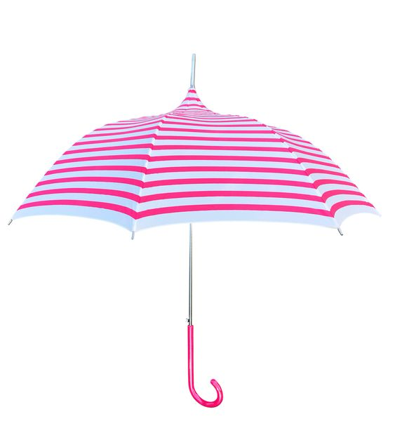 Lisbeth Dahl Pink Stripes Umbrella - European Dome Shape - Waterproof