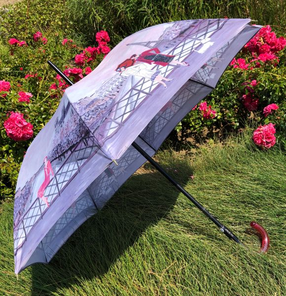 15% off - Charleston Purple Shades By Guy de Jean - Handmade French - Display Umbrella - Final sale