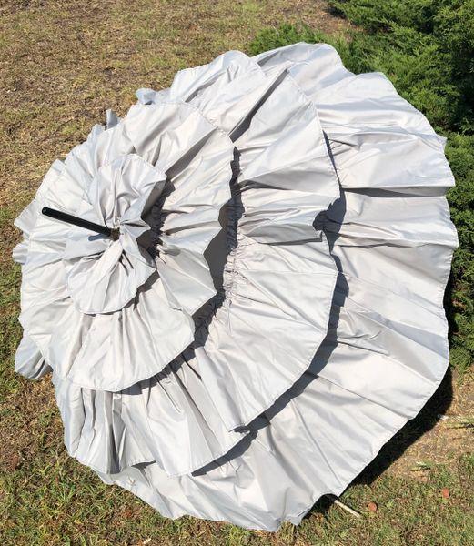 Cancan by Guy de Jean - Luxury Umbrella Handmade French - Light Grey