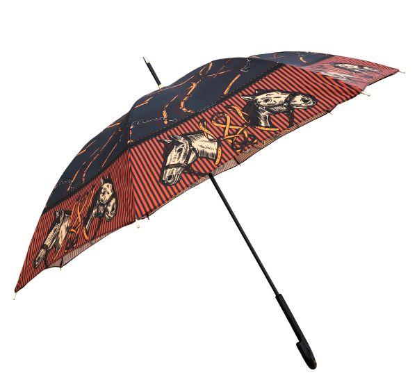 Horses by Guy de Jean - Handmade In France - Luxury Umbrella - Brown Orange Black