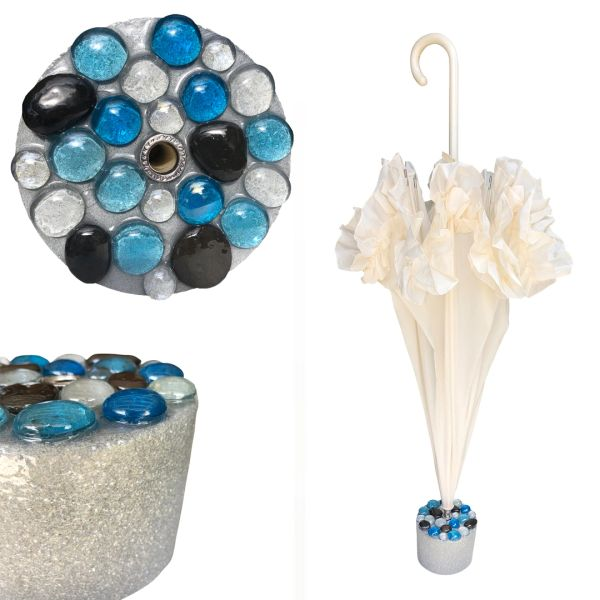 New Set - Cream Ruffle Umbrella + Handmade Blue Glass Rocks Stand - Cement And Epoxy