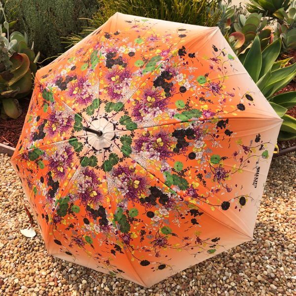 15% off - Kimono Orange By Jean-Paul Gaultier - Handmade Luxury French - Display Umbrella - Final sale