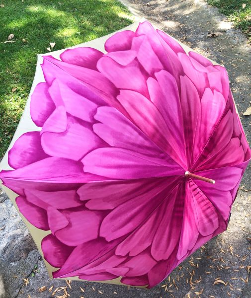 15% off - Pink Dalhia By Pasotti Ombrelli - Handmade Luxury Italian - Display Umbrella - Final sale
