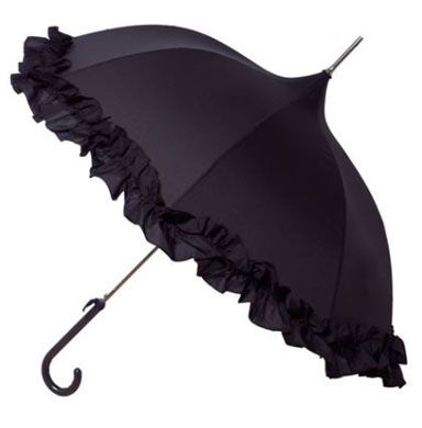 Black Ruffle Lady Pagoda - Retro Style - Dome Shaped Umbrella/Parasol - Waterproof
