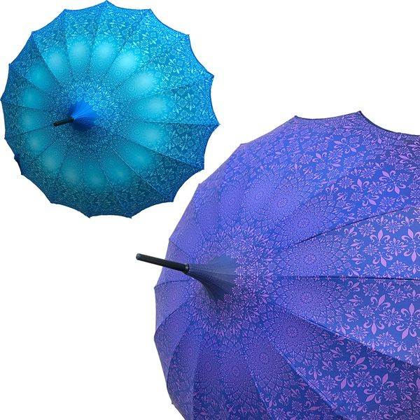 Promotion buy 1 and get 2nd one at 20% off - Anti UV And waterproof - Set of 2 - 1 blue and 1 purple Umbrellas