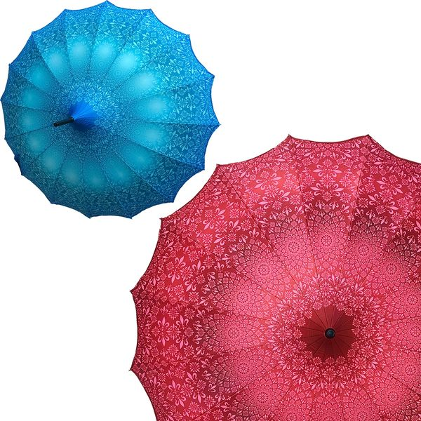 Promotion buy 1 and get 2nd one at 20% off - Anti UV umbrellas And Waterproof - Set of 2 - 1 red and 1 blue umbrellas