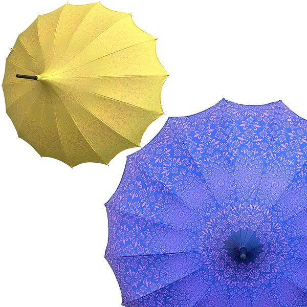 Promotion buy 1 and get 2nd one at 20% off - Anti UV umbrellas And Waterproof - Set of 2 - 1 yellow and 1 purple umbrellas