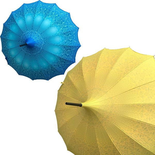 Promotion buy 1 and get 2nd one at 20% off - Anti UV umbrellas And Waterproof - Set of 2 - 1 yellow and 1 blue umbrellas