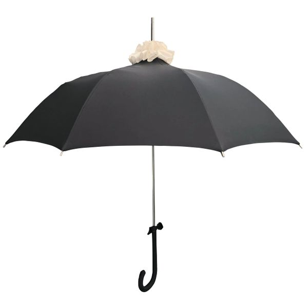 Chantilly In Black with cream color ruffly pompom- European Dome Shaped Umbrella - Waterproof