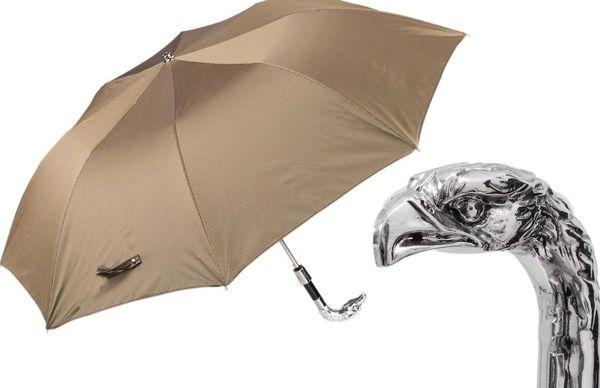 Luxury Compact Umbrella - Handmade In Italy - silver eagle