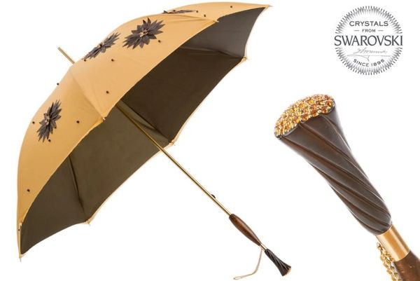 Sold - 30% off - Handmade Luxury Italian - Hand Applied sunflowers - Swarovski crystals handle - Display Umbrella - Final sale